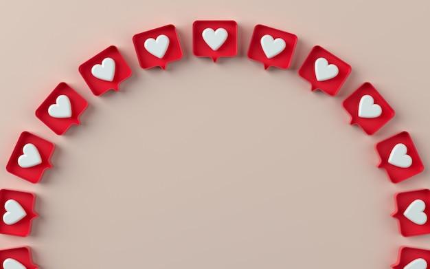 3d social media wie benachrichtigungssymbol-darstellung in 3d