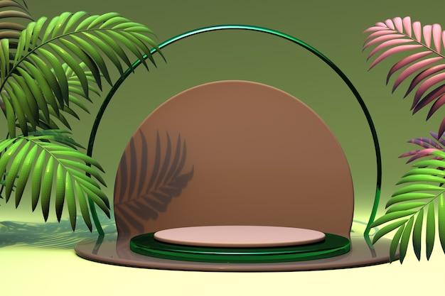 3d-sockel abstrakte palme rendern illustration podium grün rosa stufen für markenwerbung