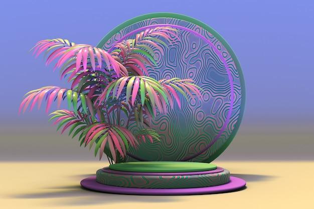 3d-sockelanzeige mit exotischem pastellrosa-grünem palmblatt und abstraktem muster blauem hintergrund