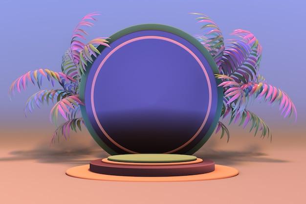 3d-sockelanzeige mit exotischem rosa palmblatt-blauem hintergrund mit rundem podium abstrakt 3d
