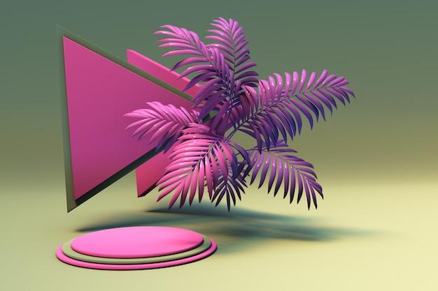 3d-sockelanzeige mit exotischem rosafarbenem palmgrünem hintergrund mit rundem podest und dreiecksform