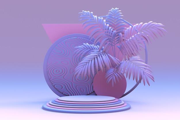 3d-sockeldisplay mit exotischem pastell-palmenrosa-violett-hintergrund mit runder podiumsvitrine