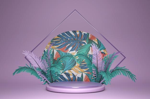 3d-sockeldisplay mit exotischen palmblättern