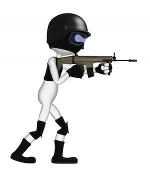 3d-soldat mit einem gewehr