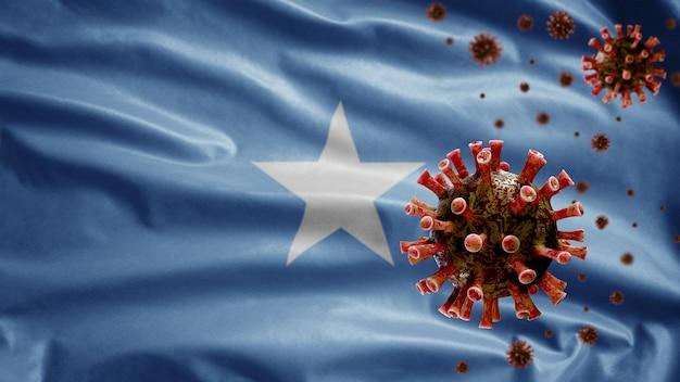 3d, somalische flagge, die mit coronavirus-ausbruch weht, der atmungssystem als gefährliche grippe infiziert. influenza-typ-covid-19-virus mit nationalem somalischem template-blasen