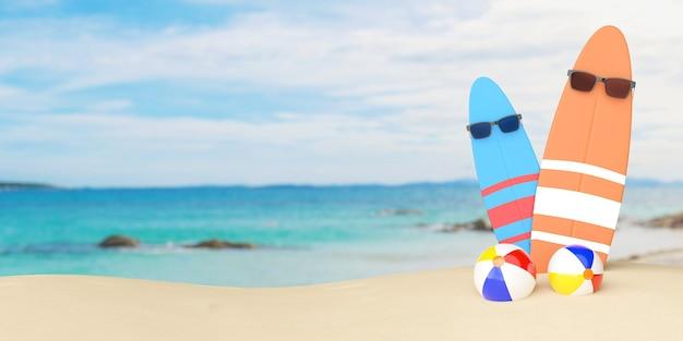 3d sommerillustration von zwei surfbrettern, die sonnenbrille und strandbälle mit strandhintergrund tragen.