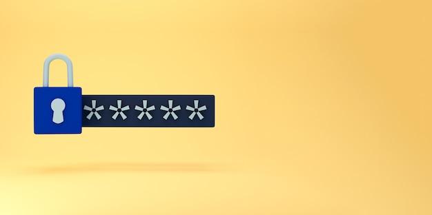 3d-sperre und passwortfeld. passwortgeschütztes sicheres login-konzept. minimales kreatives konzept in den farben blau und schwarz auf gelbem hintergrund. 3d-rendering