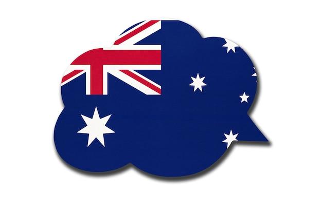 3d-sprechblase mit australischer nationalflagge isoliert auf weißem hintergrund. symbol des australischen landes. weltkommunikationszeichen.