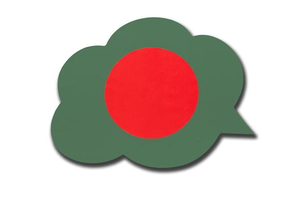 3d-sprechblase mit bangladeschischer nationalflagge isoliert auf weißem hintergrund. sprechen und lernen sie bengalisch. symbol des landes bangladesch. weltkommunikationszeichen.