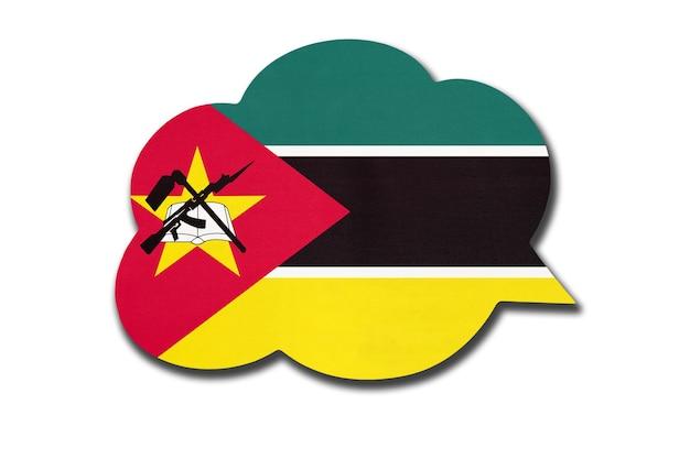 3d-sprechblase mit der mosambikanischen nationalflagge isoliert auf weißem hintergrund. symbol des landes mosambik. weltkommunikationszeichen.