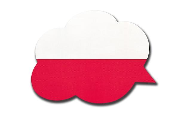 3d-sprechblase mit polnischer nationalflagge