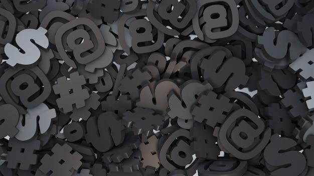 3d stapel hashtag, adresse, prozent, dollarzeichen