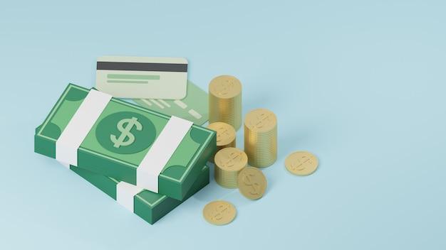 3d-stapel von banknoten, münzen und kreditkarten.
