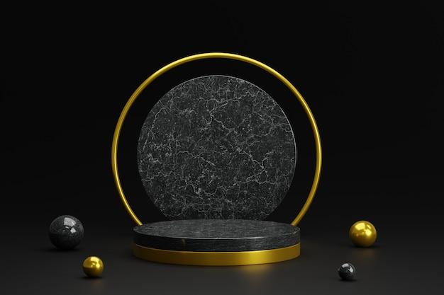3d-steinpodest aus schwarzem marmor mit goldenen kugeln