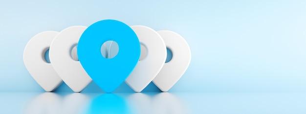 3d-stifte mit dem ersten in blau, standortkartensymbol 3d rendern über blauem hintergrundpanoramabild