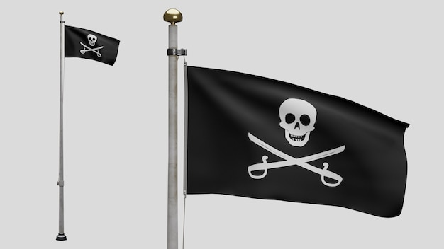 3d, stoffbeschaffenheit des piratenschädels mit im wind wehenden säbelfahnen. calico jack piratensymbol für hacker- und räuberkonzept. realistische piratenflagge schwarz auf der welligen oberfläche