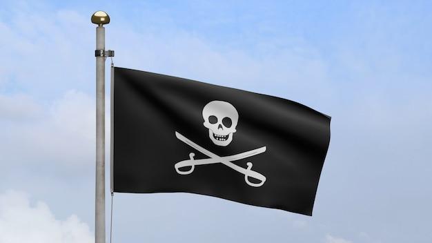 3d, stoffbeschaffenheit des piratenschädels mit säbelfahnenschwingen im wind mit blauem himmel. calico jack piratensymbol für hacker- und räuberkonzept. realistische piratenflagge schwarz auf der welligen oberfläche