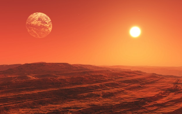 3d surreale mars-landschaft