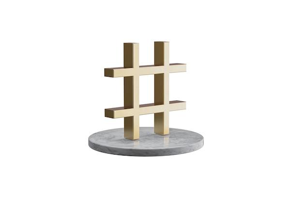 3d-symbol auf isolierter weißer oberfläche. glänzende goldene ikone auf marmorzylinder. 3d-rendering des modernen symbol-hashtags