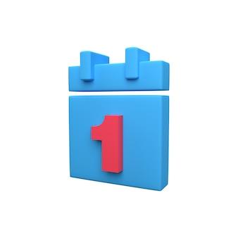 3d-symbol des organizer-kalenders mit dem ersten tag des monats. erster tag des monats im 3d-kalendersymbol