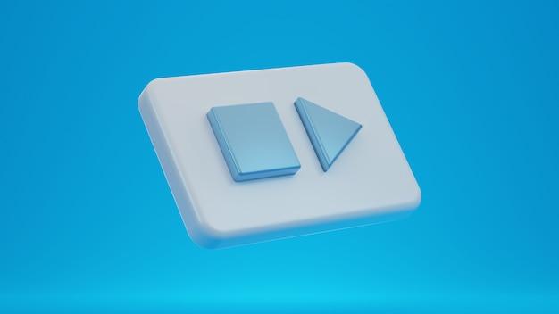 3d-symbol für wiedergabe und stopp.