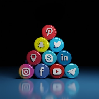 3d-symbole für soziale medien und kommunikation in einem vorgefertigten hierarchischen design auf der vorderseite