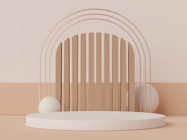 3d-szene des display-podiums für modell- und produktpräsentation mit minimalem erdtonhintergrund.