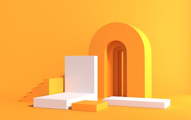 3d-szene mit podien für produktdemonstration im art-deco-stil, in den farben gelb und weiß, 3d-rendering