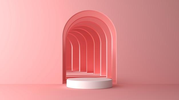 3d-szene weiße zylindrische palette der hintergrund ist mehrere türen pastellrosa wände 3d render