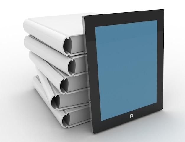 3d-tablette und bücher, digitales und papierbibliothekskonzept auf weißem hintergrund