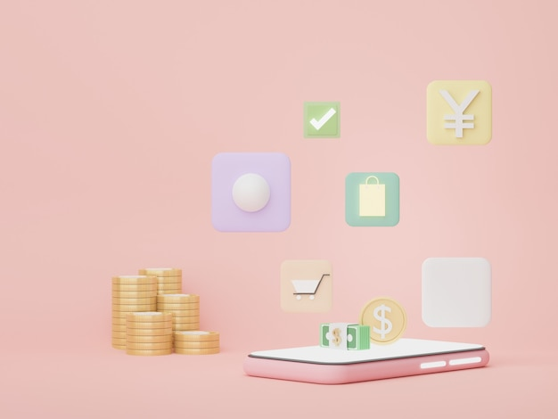 3d-telefon mit geldkonzepten finanzplanung online-shopping-vermögensmanagement-franchises