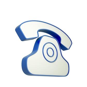 3d-telefonsymbol lokalisiert auf weiß. 3d-illustration.