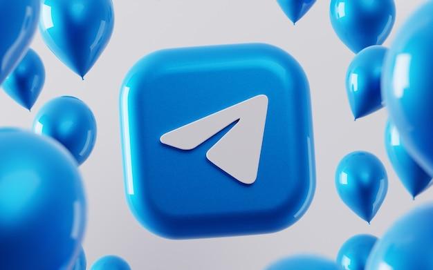 3d-telegramm-logo mit glänzenden luftballons