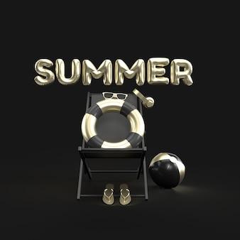 3d-text sommer mit elementen, sonnenglas, flip-flops, ball, ring floating und stuhl für hintergrund banner oder wallpaper. kreatives design von summer vacation holiday concept gold. 3d-rendering