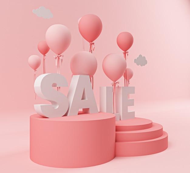 3d-text verkauf und ballon isoliert rosa hintergrund