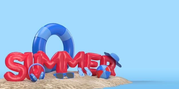 3d-textsommer auf strandinsel mit sonnenglas, flip-flops, ball, ring schwimmend. entspannungssaison im freien mit kopierraum für hintergrundbanner. design des sommerferien-ferienkonzepts. 3d-rendering