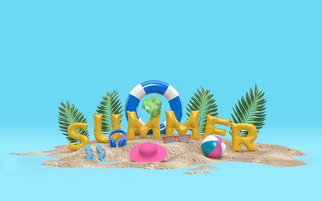 3d-textsommer auf strandinsel mit sonnenglas, flip-flops, ball, schwimmendem ring, palm leaf-entspannung im freien mit kopienraum für hintergrund. design des sommerferien-ferienkonzepts. 3d-rendering