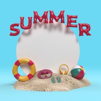 3d-textsommer auf strandinsel mit sonnenglas, flip-flops, ball, schwimmendem ring, palm leaf-entspannung im freien mit textraum für hintergrund. design des sommerferien-ferienkonzepts. 3d-rendering