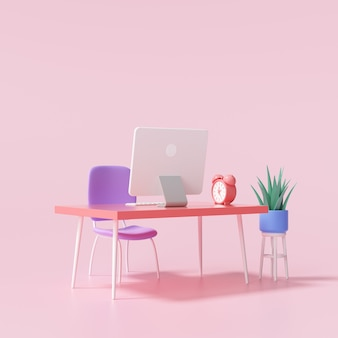 3d-tisch und computer für die arbeit von zu hause aus und online-chat-konzept. 3d-render-darstellung