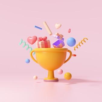 3d-trophäenbecher mit schwimmendem geschenk, herz, band und geometrischen formen auf rosafarbenem hintergrund, feier, gewinner, champion und belohnungskonzept. 3d-render-darstellung
