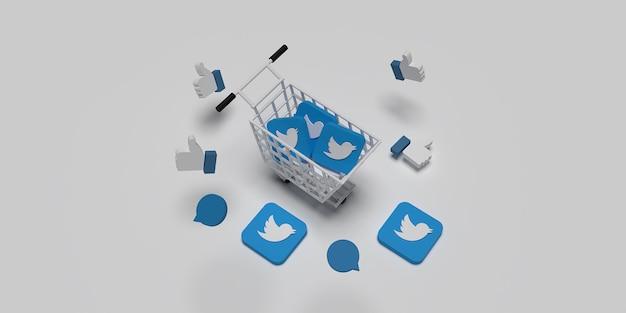 3d-twitter-logo auf warenkorb wie konzept für kreatives marketingkonzept mit weißer oberfläche gerendert