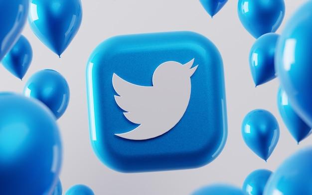 3d twitter-logo mit glänzenden luftballons