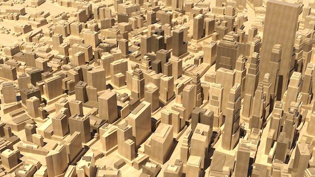 3d übertragen abstrakte hölzerne stadt. konzept der innenstadtstruktur.