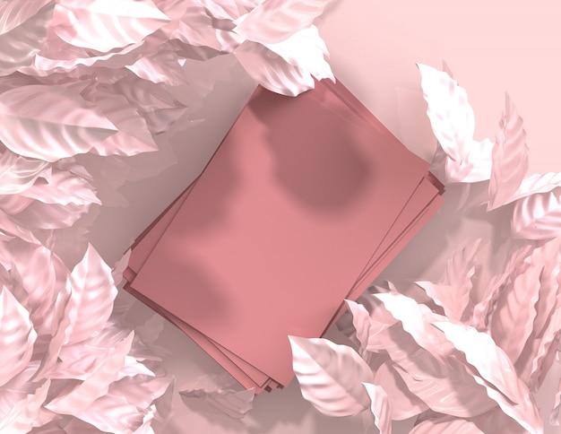 3d übertragen abstrakte rosa farbe geometrischen blatthintergrund, unbedeutendes modell für podiumanzeige