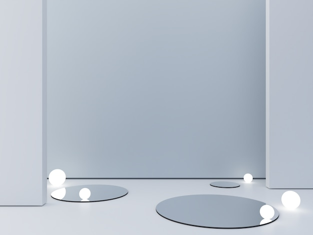 3d übertragen, abstrakter kosmetischer hintergrund, um ein produkt zu zeigen. leere szene mit zylinderspiegel und kugelförmigen lichtern im boden.