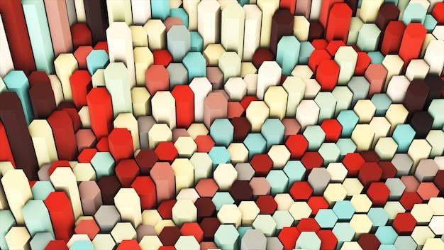 3d übertragen abstraktes buntes pastell viele technischen geometrischen hexagone als hintergrund.
