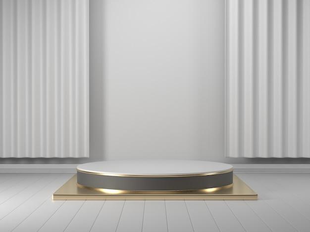 3d übertragen, abstraktes geometrisches, zylinderpodium, minimalistische ursprüngliche formen, moderner spott oben, leere schablone, goldmetallgitter, masche, leerer schaukasten, shopanzeige