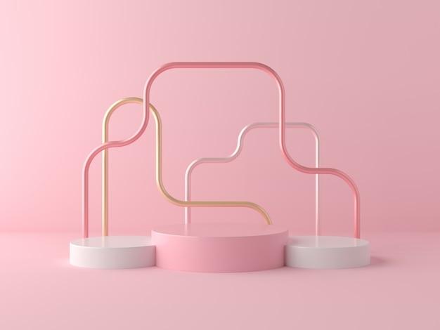3d übertragen anzeige auf rosa farbpodium und rosa wandprodukt