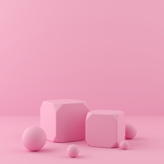 3d übertragen anzeige auf rosa farbpodium und -wand für produkt