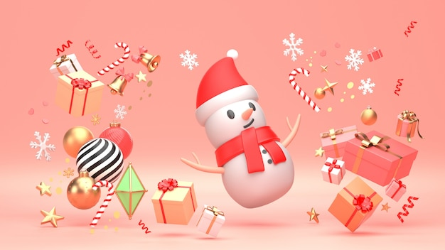 3d übertragen bild der verzierung des neuen jahres des weihnachtsschneemannes
